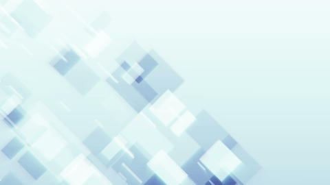 Light abstract background with square particles moving in clean shiny space Animation