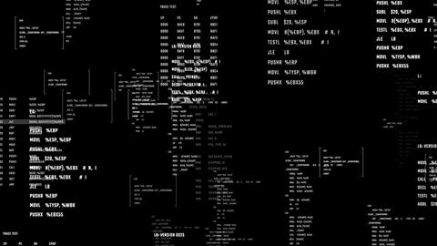 Futuristic interface of application programming. System code on a screen moving Animation