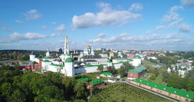Panoramic view of unique monastery complex of Trinity Lavra of St. Sergius Footage