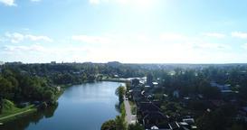 Aerial View pond and park near Trinity-St. Sergius Lavra In Sergiev Posad 4K GIF