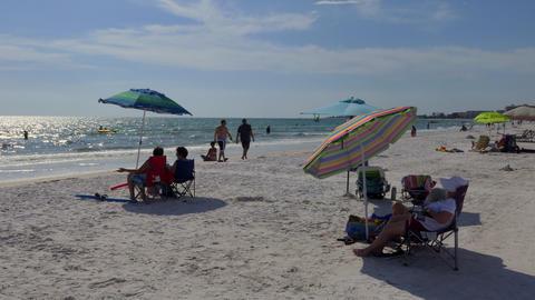 Siesta Key Beach In Sarasota Florida With Tourists On Holiday Footage