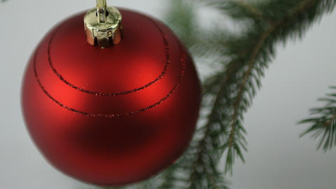 Red Christmas bulb view from above Stock Video Footage
