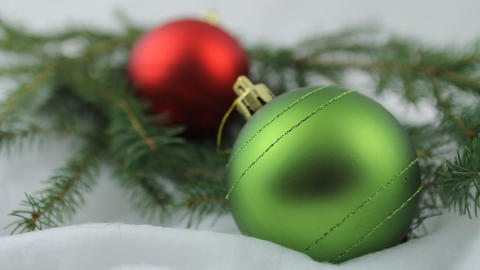 Red and green Christmas bulbs Stock Video Footage