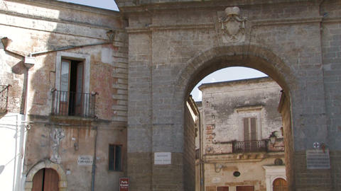 Medieval city gate into a village Stock Video Footage