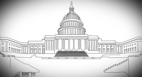 4 K Capitolium handdraw design 2 Stock Video Footage