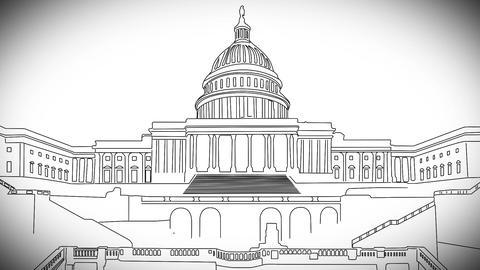 Capitolium handdraw design 2 Stock Video Footage