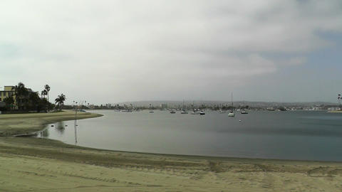 San Diego Mission Bay 01 pan left Stock Video Footage