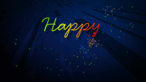 happy new year rainbow Stock Video Footage