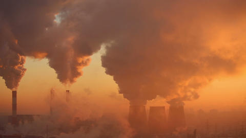 Polluting factory at dawn, Stock Animation