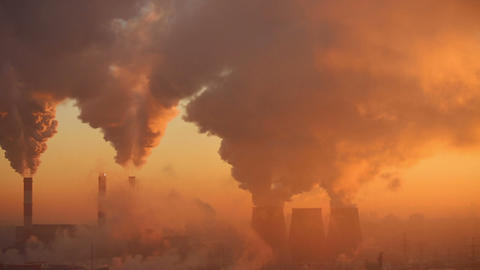 Polluting factory at dawn Animation