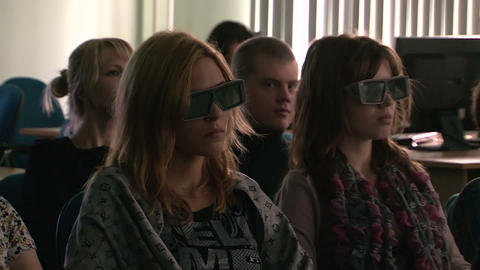 The audience in the 3D cinema Footage