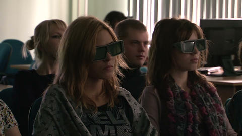 The audience in the 3D cinema Stock Video Footage