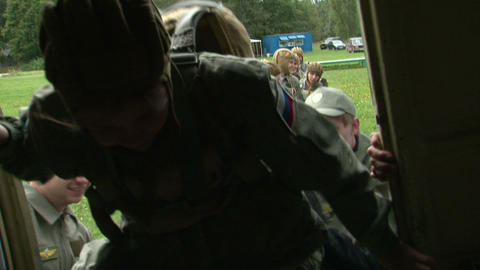 Paratroopers sit down in the plane Stock Video Footage