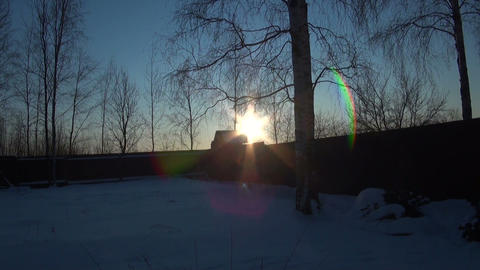 Village house and the sun Stock Video Footage