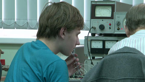 Post-graduate student at the computer in the lab Stock Video Footage