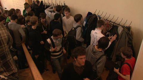 People in the locker room Stock Video Footage