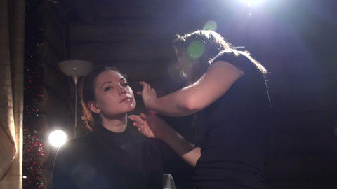 Make-up artist made make-up actress Stock Video Footage