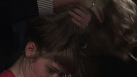 Make-up artist made make-up actress Stock Video Footage