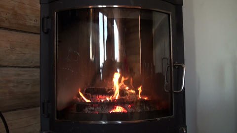 Burning Fireplace stock footage