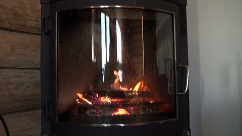 Burning fireplace Stock Video Footage