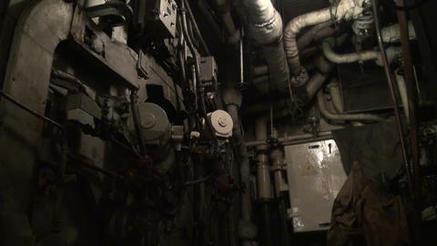 The engine room of the ship Footage