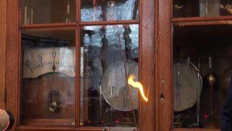Lightning between the metal pins Stock Video Footage