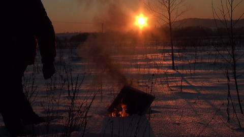 Burning in the snow monitor Stock Video Footage