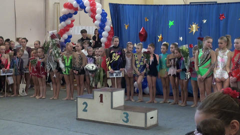 Awarding ceremony for girls, sports pedestal Stock Video Footage