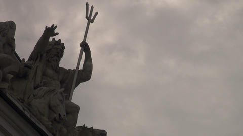 Sculpture Of Neptune Stock Video Footage