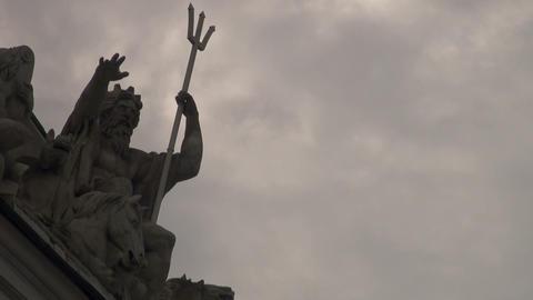 Sculpture Of Neptune Stock Video Footage