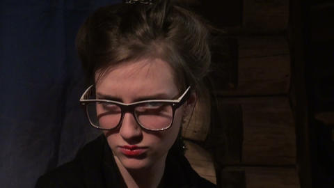 Girl with big glasses Stock Video Footage