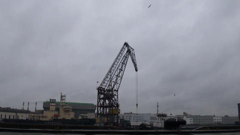 Cranes in the port of Footage