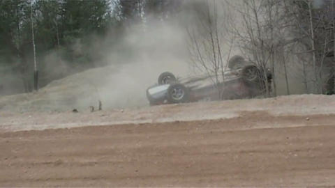 The rally, accident Stock Video Footage