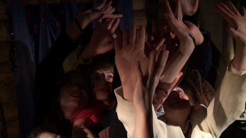 Girls pulling your hands up Stock Video Footage