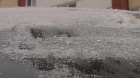 Remove the ice from the car Stock Video Footage
