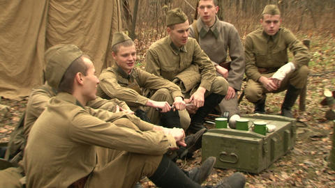 The partisans in the forest camp Stock Video Footage