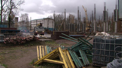 Workers At A Construction Site stock footage
