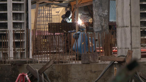 Workers at a construction site Footage