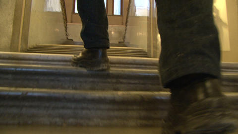 Footsteps on the stairs Stock Video Footage