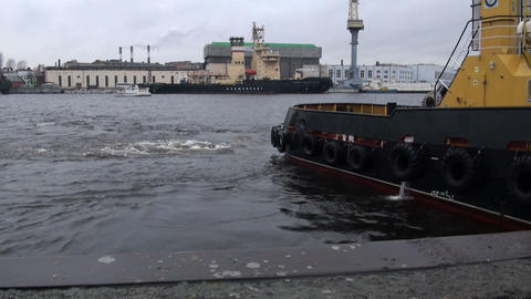 The ship at the pier Stock Video Footage