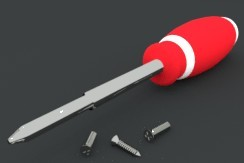 Screwdriver and Screws 3D Model