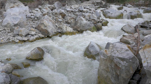 Panorama of a mountain river. Consequences of mudflow GIF