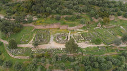 Aerial view of archaeological site of ancient Delphi, site of temple of Apollo Footage