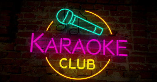 Karaoke Club retro neon on wall Animation