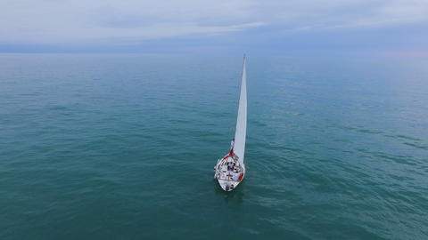 Sailing boat going down turquoise sea, luxurious lifestyle, unimpeded freedom Footage
