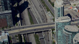 Overhead of Traffic and Railway Lines in Toronto Footage