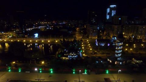 Seafront area of Batumi Georgia night, Black Sea resort cityscape, destination Live Action