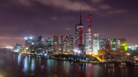 Time Lapse Of The Shanghai China Skyline Footage