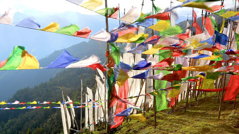 Buddhist Prayer Flags Blowing In The Wind GIF