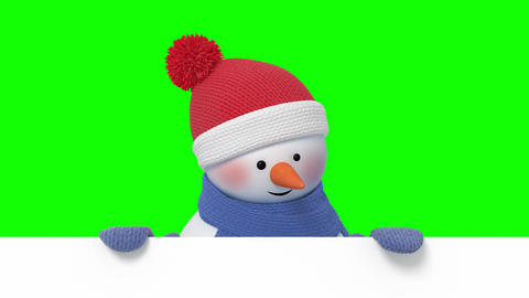 Funny Snowman in Santa`s Hat Greeting and Smiling Animation
